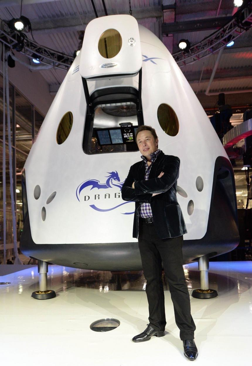 Elon Musk with the Dragon V2