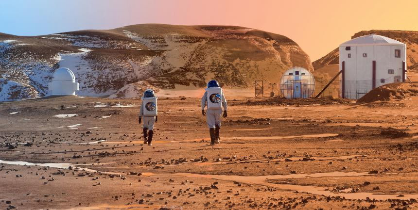 Heading home after a long day's exploration at MDRS