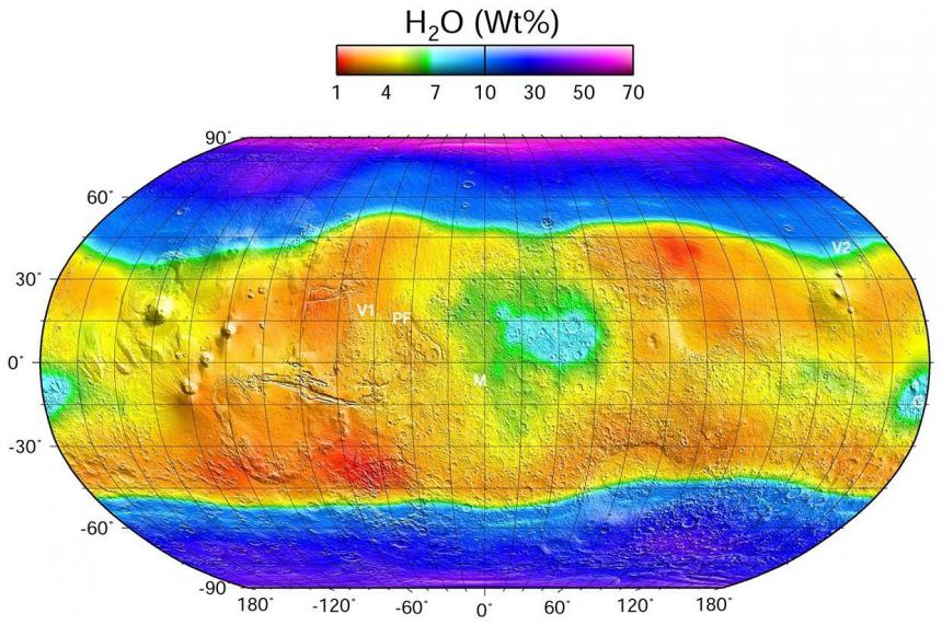 Mars water concentration map, generated from GRS data