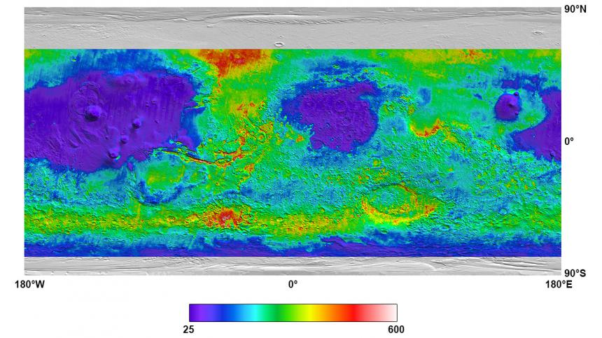 Mars thermal inertia map created from TES data