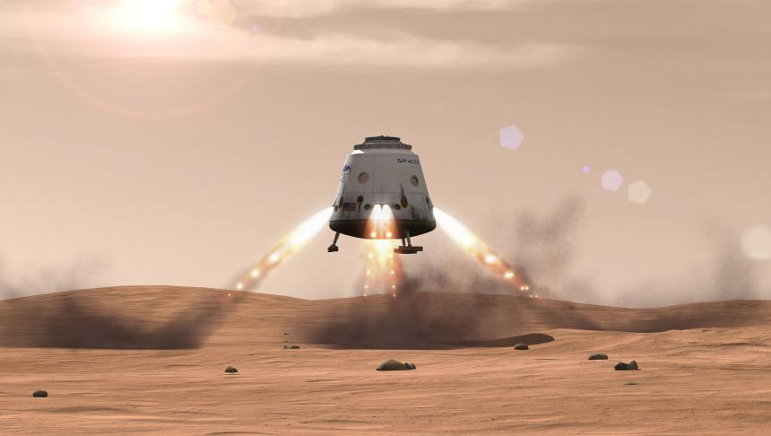 Red Dragon landing on Mars