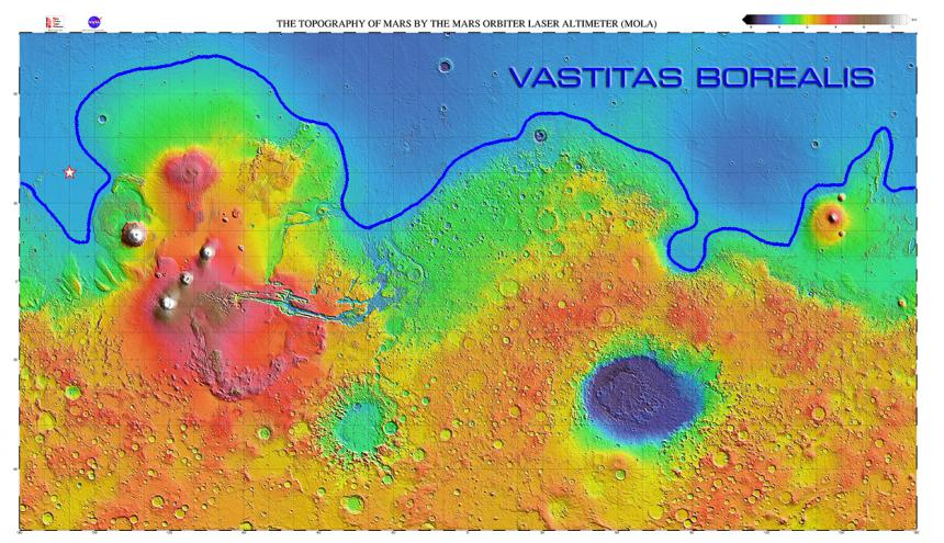 Mars topographical map generated from MOLA data